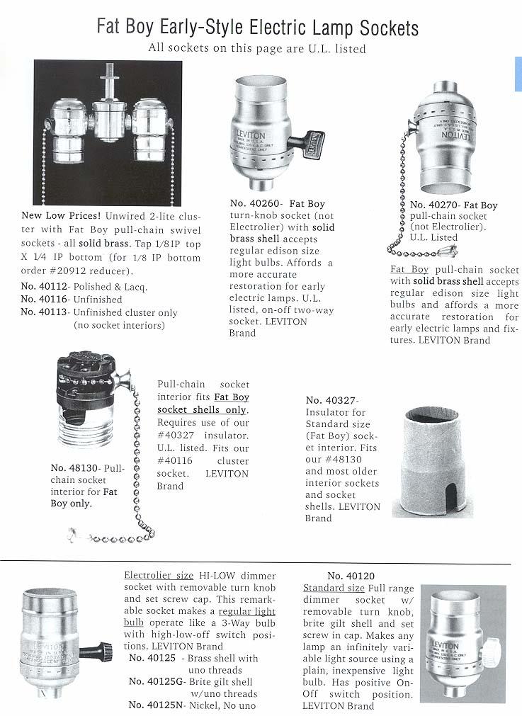 Sockets For Lamp Repair Or Building Lamps